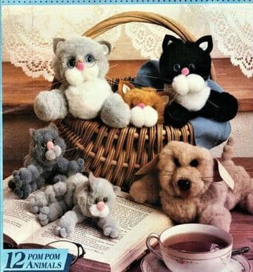 PDF Digital Download Vintage Knitting Craft Pattern Booklet Assorted Animal Pompom Toys