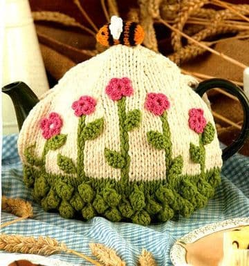 PDF Digital Download Vintage Knitting/Crochet Pattern Flower & Bee Tea Cozy Cosy Chunky yarn
