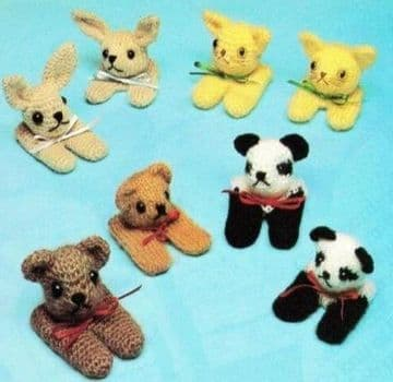 PDF Digital Download Vintage Knitting Crochet Pattern Toy Animal Finger Puppets Soft Plush Toys