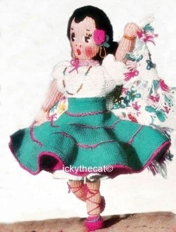 PDF Digital Download Vintage Knitting Pattern 10-11'' Spanish Dancer Doll Stuffed Soft Toy