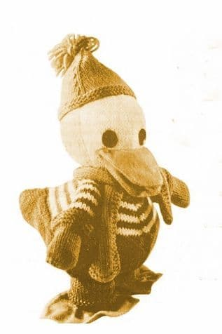 PDF Digital Download Vintage Knitting Pattern 10'' Drake Duck Stuffed Soft Body Toy Bird Animal