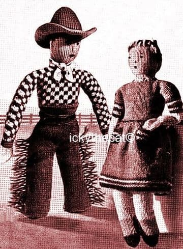PDF Digital Download Vintage Knitting Pattern 12'' Cowboy Cowgirl Doll Stuffed Soft Toy Dolls 4 ply