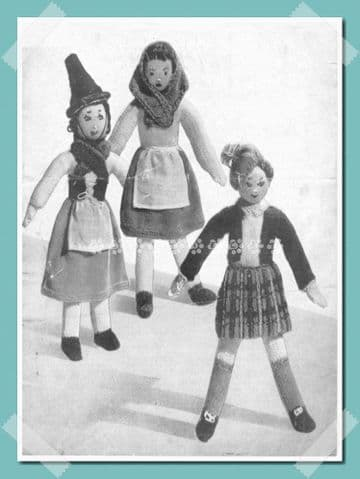 "PDF Digital Download Vintage Knitting Pattern  12"" Scottish Welsh & Irish Dolls Toys 3ply"