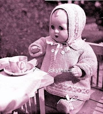 PDF Digital Download Vintage Knitting Pattern 14'' Doll Clothes