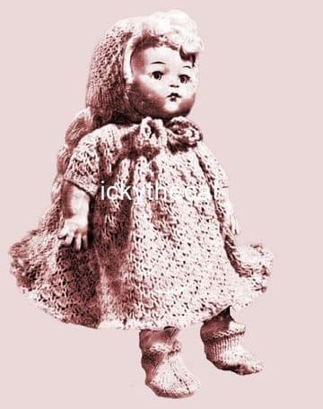 PDF Digital Download Vintage Knitting Pattern 14'' Doll Clothes Dress Bonnet Beret Socks Undies ​​​​