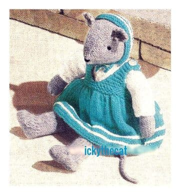 "PDF Digital Download Vintage Knitting Pattern 14"" Stuffed Soft Body Toy Animal Mouse with Clothes"