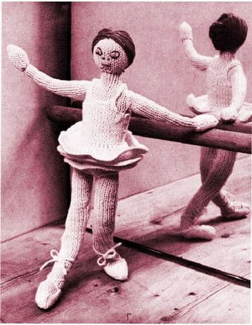 PDF Digital Download Vintage Knitting Pattern 15'' Ballerina Doll Stuffed Soft Toy 4 ply