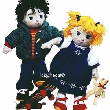 PDF Digital Download Vintage Knitting Pattern 15'' Boy & Girl Rag Dolls & Clothes Stuffed Soft Toys
