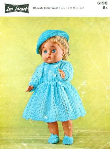 PDF DIGITAL DOWNLOAD Vintage Knitting Pattern 16'' DOLLS CLOTHES Lee Target 6198