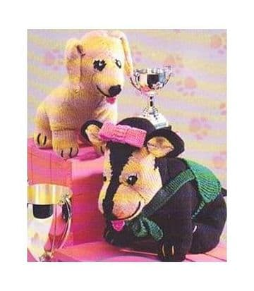 PDF Digital Download Vintage Knitting Pattern 2 Plush Soft Toy Animals Dogs 11-12'' Toys
