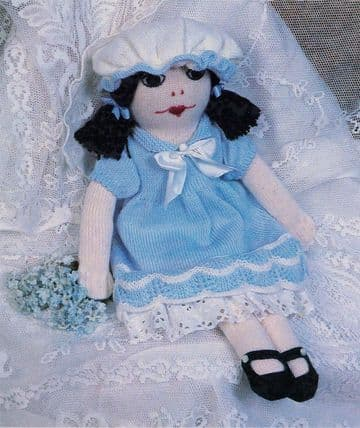 PDF Digital Download Vintage Knitting Pattern 22'' Stuffed Plush Soft Toy Rag Doll  with Clothes