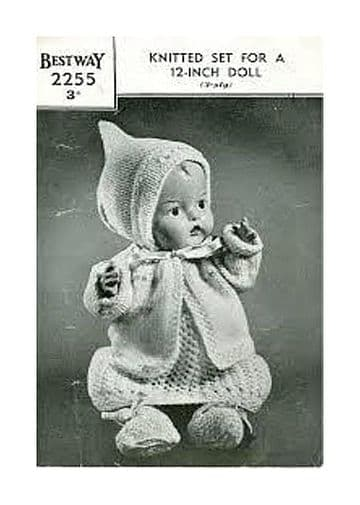 PDF Digital Download Vintage Knitting Pattern 3 ply Doll Clothes 12'' Baby Dolls ​​​​​​​Toy Toys