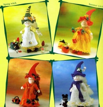PDF Digital Download Vintage Knitting Pattern 4 Witches Dolls with Accessories Soft Toys Doll Animal