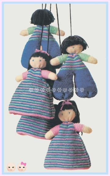 "PDF Digital Download Vintage Knitting Pattern 5"" Boy Girl Stuffed Soft Plush Toy Dancing Doll Mobile"