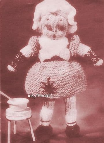 PDF Digital Download Vintage Knitting Pattern 7-8'' Doll Miss Muffet Stuffed Soft Toy 3 ply