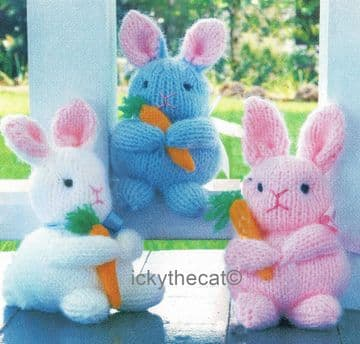 PDF Digital Download Vintage Knitting Pattern 7'' Bunny Rabbit Bunnies Rabbits Plush Soft Toys