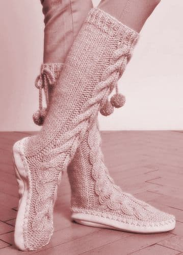 PDF Digital Download Vintage Knitting Pattern Adult Child Cable Slipper Socks 36-44 Bulky yarn