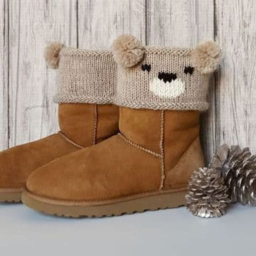 PDF Digital Download Vintage Knitting Pattern Aran Boot Toppers Teddy Bear/Panda Bear/Koala Bear