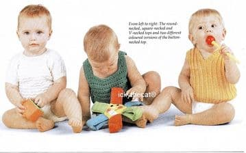 PDF Digital Download Vintage Knitting Pattern Babies 4 Assorted Sweaters Tops 18-20'' 4 ply