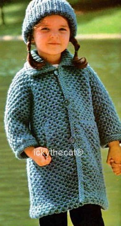 PDF Digital Download Vintage Knitting Pattern Babies Childs Coat and Hat Chest 20-24 inches