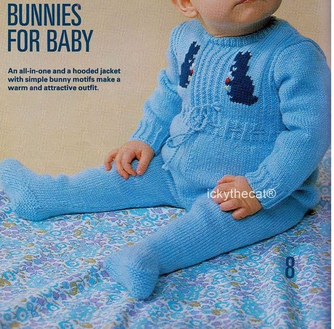 PDF Digital Download Vintage Knitting Pattern Baby All in One Romper and Jacket Hood Bunny Motifs