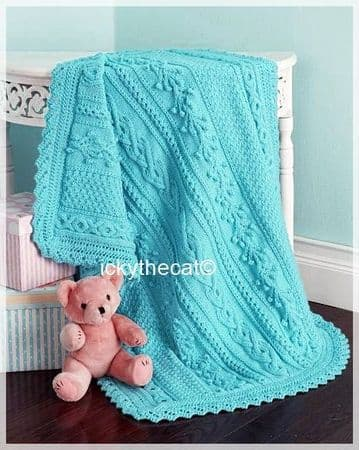PDF Digital Download Vintage Knitting Pattern Baby Babies Aran Cable Blanket Afghan 42 x 324'' Aran