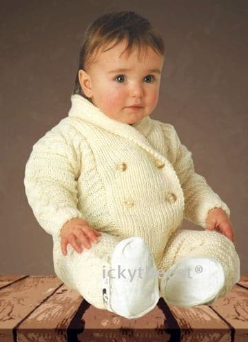 PDF Digital Download Vintage Knitting Pattern Baby Babies Aran Suit Jacket & Pants/Trousers