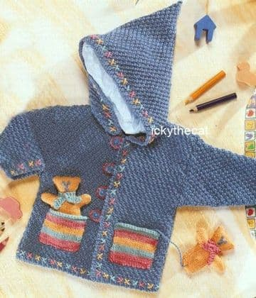 PDF Digital Download Vintage Knitting Pattern Baby Babies Baby's Hooded Jacket with Pocket Toy Teddy