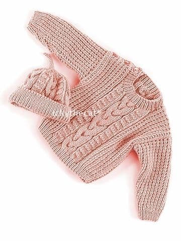 PDF Digital Download Vintage Knitting Pattern Baby Babies Cable Aran Sweater Jumper & Beanie Hat