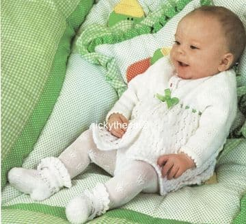 PDF Digital Download Vintage Knitting Pattern Baby Babies Cardigan Coat 18-19'' DK / 8 ply (1)