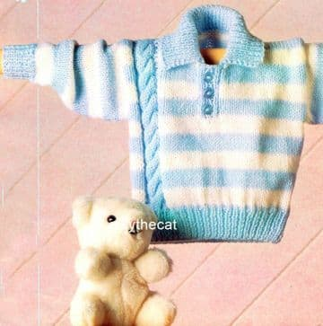 PDF Digital Download Vintage Knitting Pattern Baby Babies Child Stripe & Side Cable  Collar Sweater