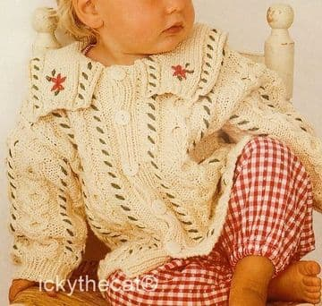 PDF Digital Download Vintage Knitting Pattern Baby Babies Childs Aran Style Round Neck Cardigan