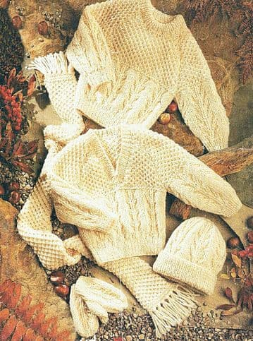 PDF Digital Download Vintage Knitting Pattern Baby Babies Childs Aran Sweaters Hat Scarf Mittens