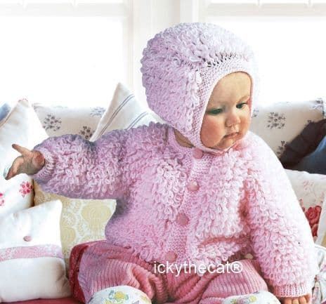 PDF Digital Download Vintage Knitting Pattern Baby Babies Childs Loopy Cardigan Jacket and Bonnet