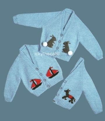 PDF Digital Download Vintage Knitting Pattern Baby Babies Childs Motif Cardigan Bunny Boat Donkey