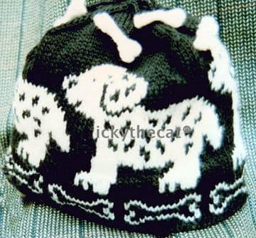 PDF Digital Download Vintage Knitting Pattern Baby Babies Childs ​​​​​​​Puppy Dog & Bones Hat Beanie