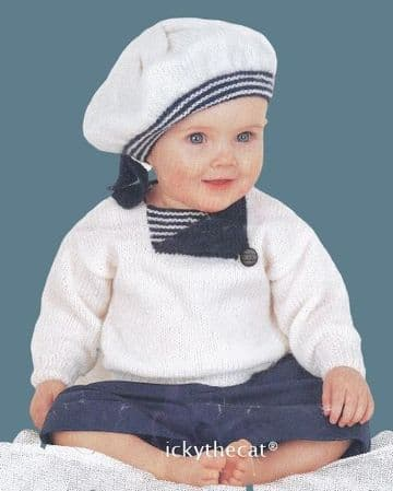 PDF Digital Download Vintage Knitting Pattern Baby Babies Childs ​​​​​​​Sailor Sweater Jumper and Be
