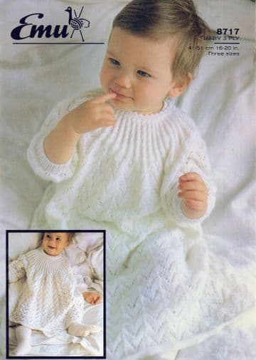 PDF Digital Download Vintage Knitting Pattern Baby Babies Christening Dress & Short Dress 16/18/20''