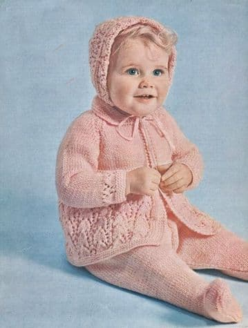 PDF Digital Download Vintage Knitting Pattern Baby Babies Clothes Pram Set: Coat Leggings Bonnet