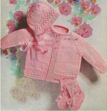 PDF Digital Download Vintage Knitting Pattern Baby Babies Coat Bonnet Bootees 18-20 inches