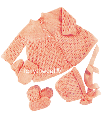 PDF Digital Download Vintage Knitting Pattern Baby Babies Coat Bonnet Bootees Mittens Set 16-18''