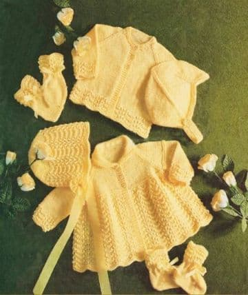 PDF Digital Download Vintage Knitting Pattern Baby Babies Coat Jacket Bonnet Helmet Hat Bootees Mitt