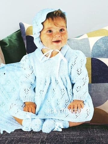 PDF Digital Download Vintage Knitting Pattern Baby Babies Dress Bonnet Bootees Mitts Shawl