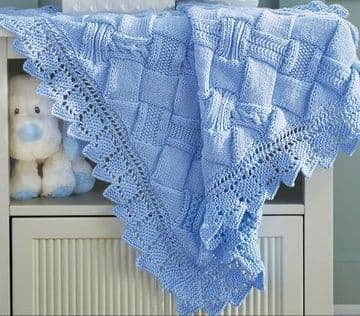 PDF Digital Download Vintage Knitting Pattern Baby Babies Entrelac Blanket Afghan 34 x 42 ​​​​​​​DK
