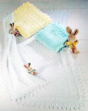 PDF Digital Download Vintage Knitting Pattern Baby Babies Lacy Shawl Blanket 41'' Square