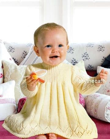 PDF Digital Download Vintage Knitting Pattern Baby Babies Long Sleeve Dress 18-20'' 4 ply