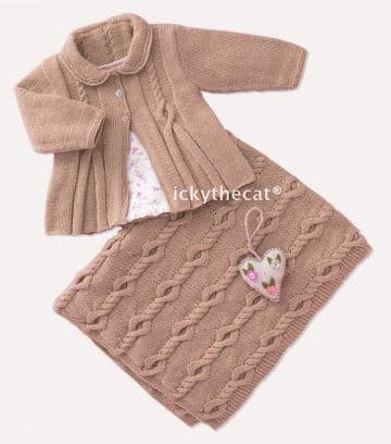 PDF Digital Download Vintage Knitting Pattern Baby Babies Matinee Cable Coat/Jacket & Blanket