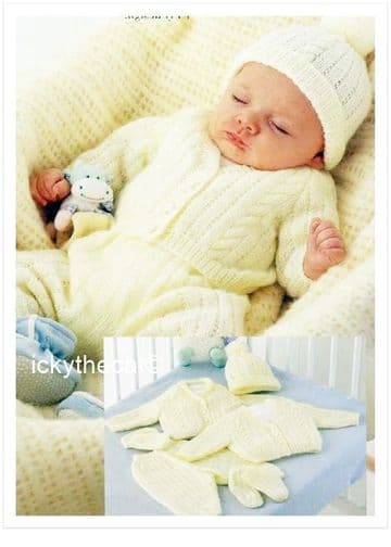 PDF Digital Download Vintage Knitting Pattern Baby Babies Premature Cardigan Jacket,Trousers Pants +