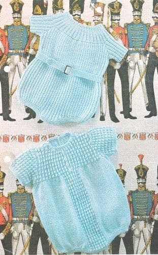 PDF Digital Download Vintage Knitting Pattern Baby Babies  Rib Ribbed & Patterned  Romper Rompers