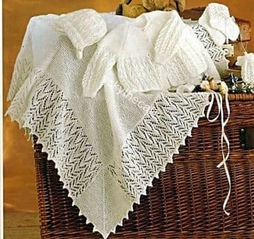 PDF Digital Download Vintage Knitting Pattern Baby Babies Shawl Coat Bonnet Mitten